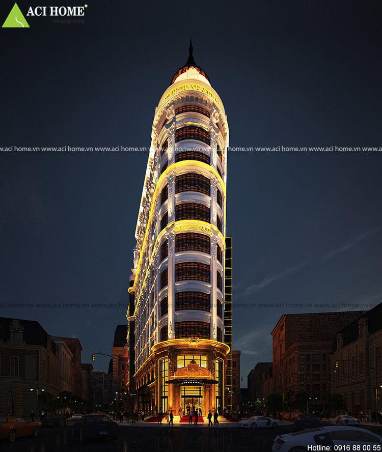thiết kế khách sạn kết hợp trung tâm thương mại