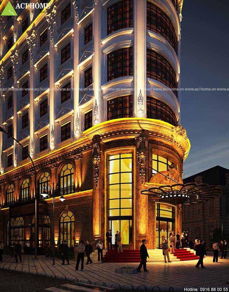 kiến trúc khách sạn kết hợp trung tâm thương mại