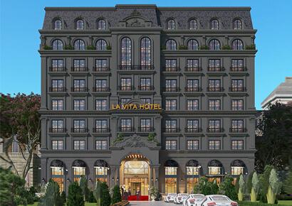 thiết kế khách sạn màu đen