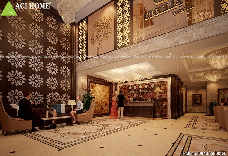 nội thất sảnh chính khách sạn
