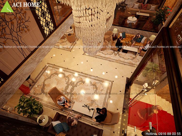 góc nhìn từ tầng 2 xuống sảnh