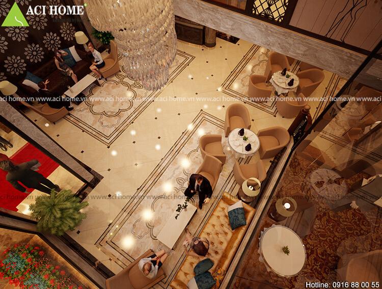 không gian sảnh chính khách sạn