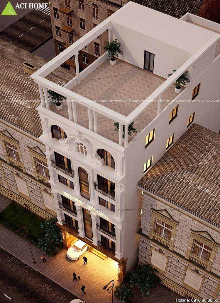 Khách sạn chiều cao 6 tầng