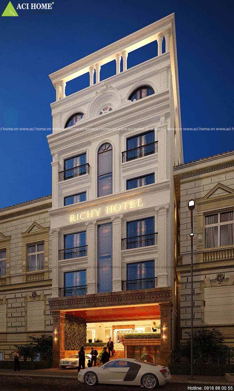 Richy hotel với mặt tiền rộng 9m