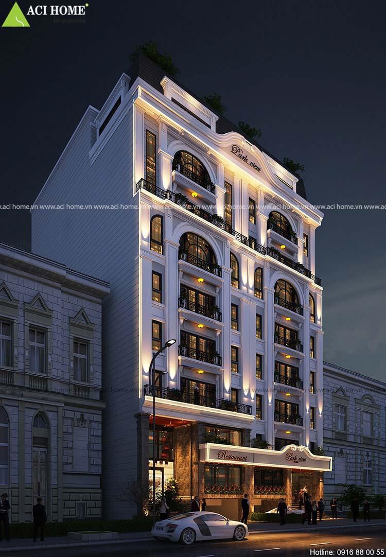 thiết kế nhà hàng 9 tầng