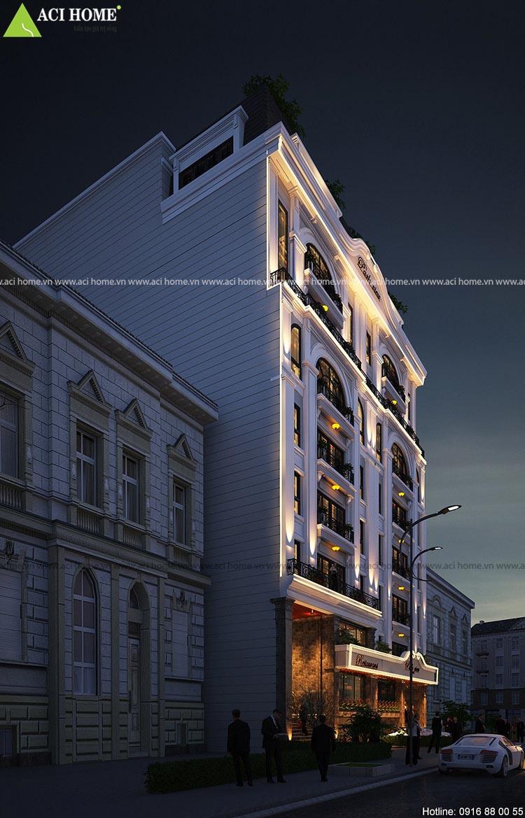 kiến trúc nhà hàng 9 tầng