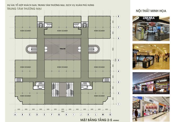 mặt bằng tầng 2 đến tầng 5 của trung tâm thương mại