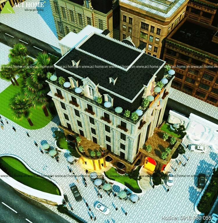 công trình khách sạn nhìn từ trên cao