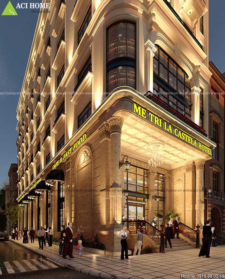 không gian tiền sảnh khách sạn Pháp