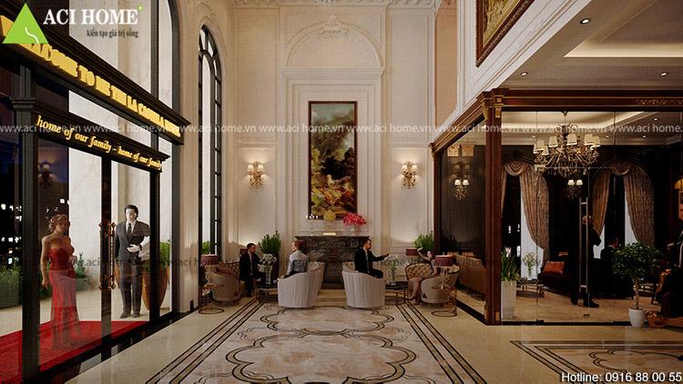 không gian nội thất bên trong khách sạn Mễ Trì