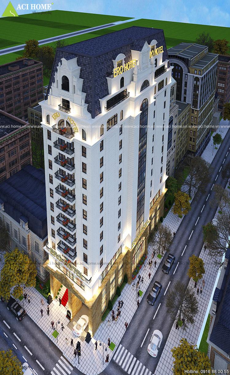 Thiết kế khách sạn Ero 18 tầng kiểu Châu Âu