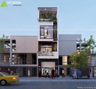 Nhà phốkết hợp kinh doanhtại Ninh Hiệp-Bắc Ninh với vẻ đẹp hiện đại, trẻ trung.
